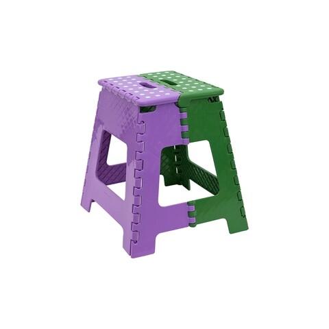 Scaun pliabil inalt, Plastor Trading, 37.5 x 35.5 x 38.5 cm, plastic, mov/verde