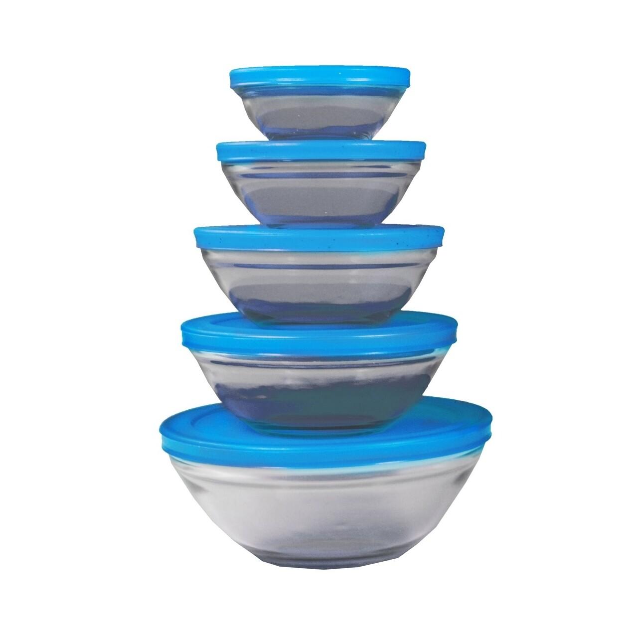 Set 5 caserole de sticla Jocca Blue Lid