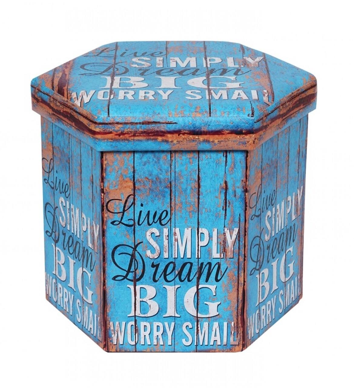 Taburet pliabil cu spatiu de depozitare Dream, Heinner Home, 38 x 38 x 43 cm, PVC, albastru