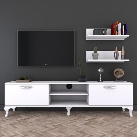 Comoda TV cu raft A4, Wren, alb