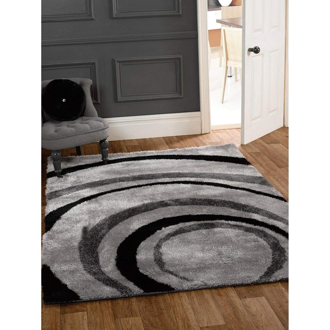 Covor Velvet Droplet, Flair Rugs, 120 x 170 cm, 100% polipropilena, gri/negru