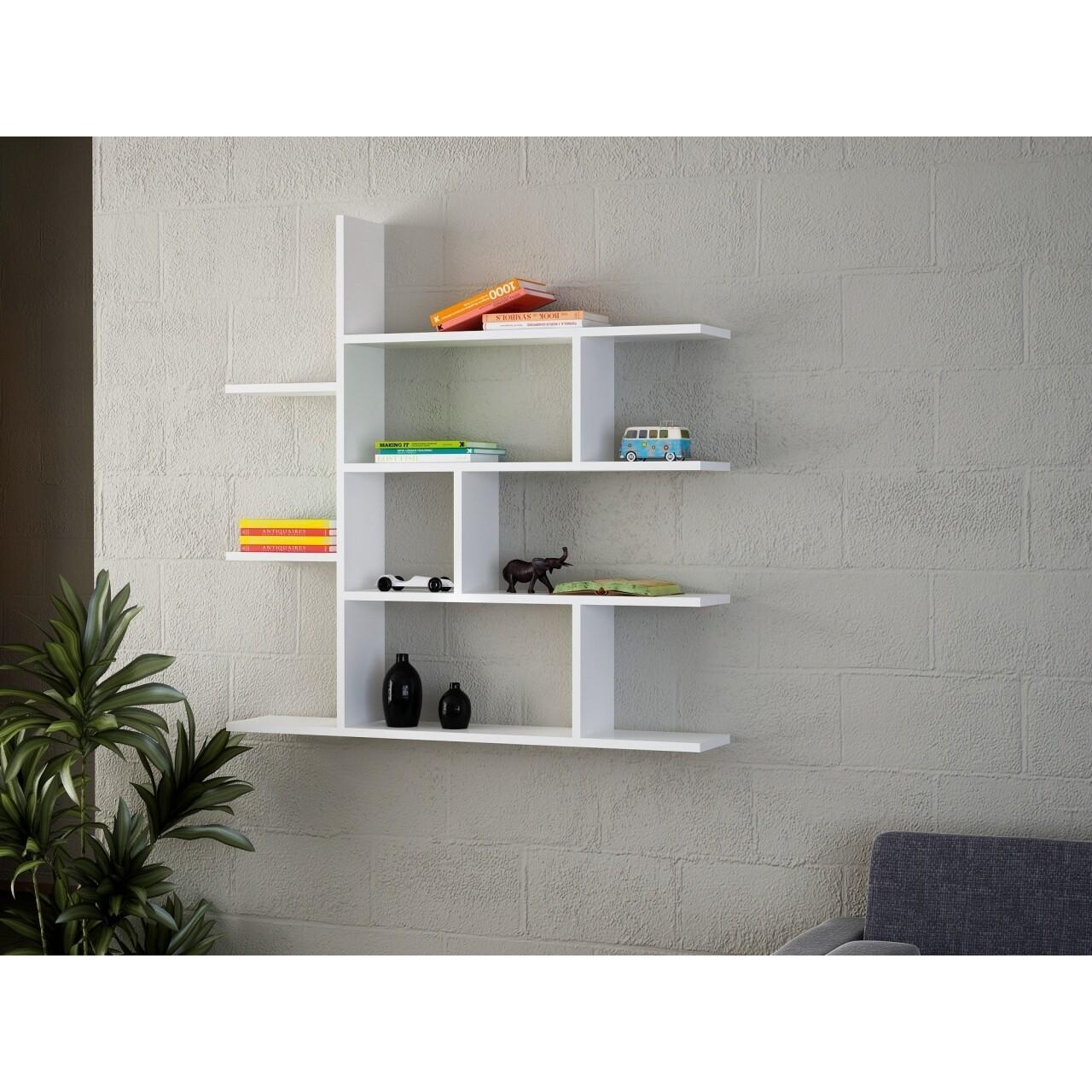 Raft pentru perete, Wooden Art, White, 120x121.8x22 cm