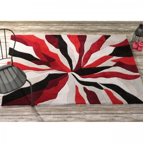 Covor Infinite Splinter Red, Flair Rugs, 120 x 170 cm, 100% poliester, rosu/bej/negru