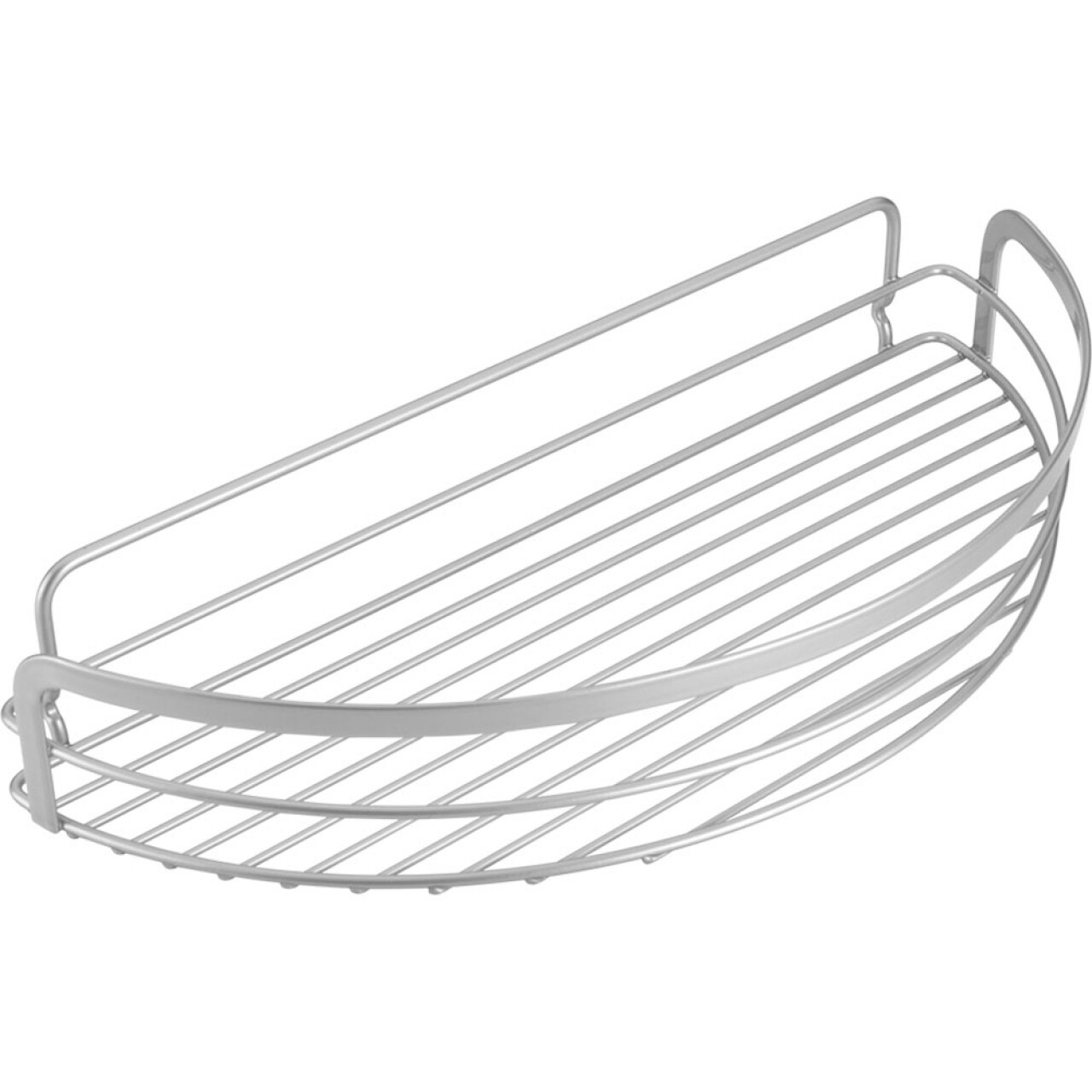 Polita baie Semi-Circle Viva, Metaltex, 37x17x6 cm, metal/ invelis Polytherm, argintiu