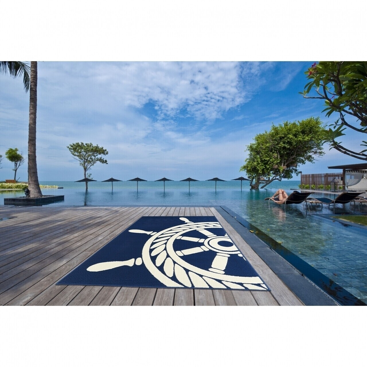 Covor indoor outdoor Floorita WHEEL NAVY 160X230