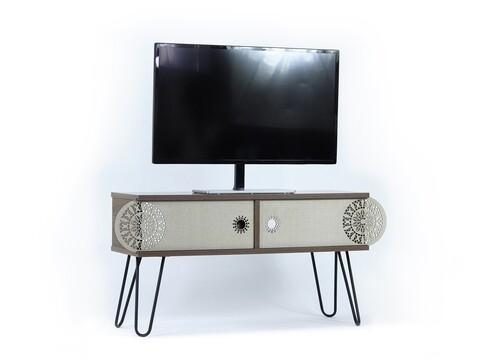 Comoda TV Mingitav Illia No.1, 106 x 30 x 48 cm, PAL/metal, negru