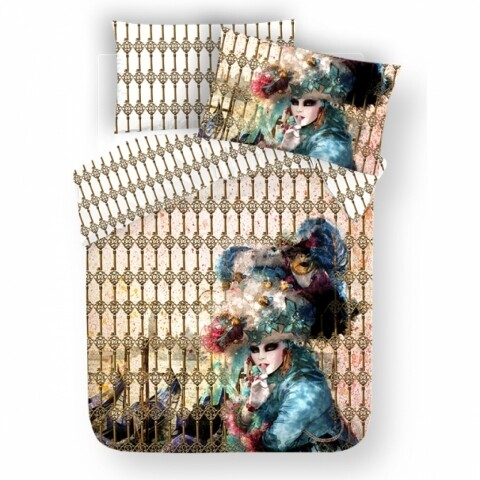 Lenjerie de pat dubla Carnival, Aglika, 3 piese, 200 x 220 cm, 100% bumbac, multicolora