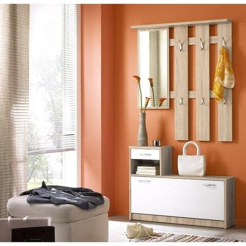 Set mobila hol, First Look, Vera, 100 x 25 x 91 cm, PAL, alb/bej
