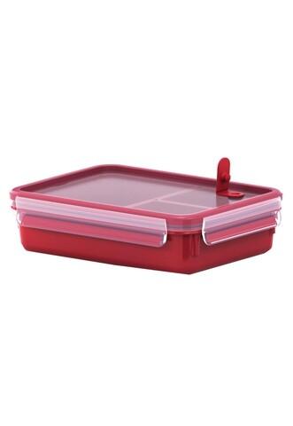 Caserola dreptunghiulara cu capac, Tefal, Clip&Micro, 1.2 L, plastic, rosu