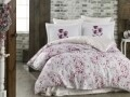 Lenjerie de pat dubla, 6 piese, 240x260 cm, 100% bumbac satinat, Hobby, Jimena Pink, alb/roz
