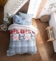 Lenjerie de pat matlasata pentru o persoana Young, 3 piese, 100% bumbac ranforce, Cotton Box, Cruise Blue