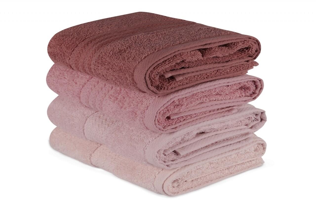 Set 4 prosoape de baie, Hobby, 50x90 cm, 100% bumbac, roz