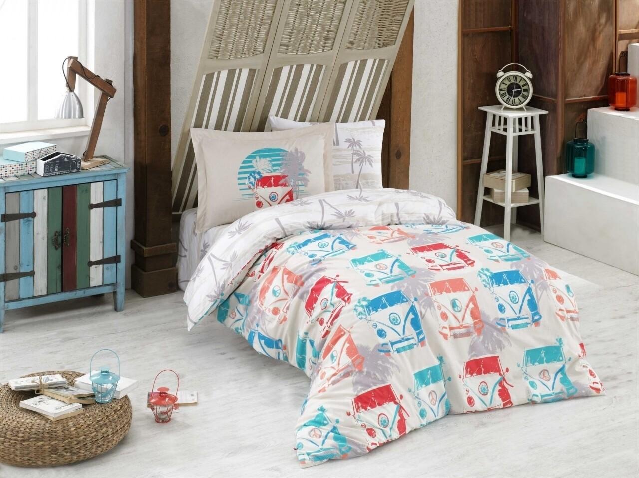 Lenjerie de pat pentru o persoana, 3 piese, 100% bumbac poplin, Hobby, Renata Cream, multicolora