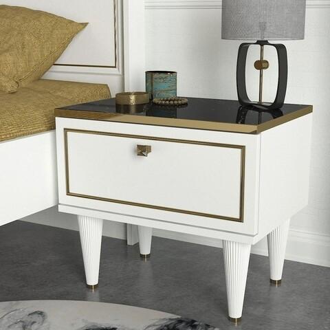Noptiera Ravenna White, Talon, 50 x 34.8 x 47.2 cm, alb/auriu/negru