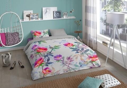 Lenjerie de pat pentru doua persoane, Good Morning Suzy, 100% bumbac, 3 piese, multicolora