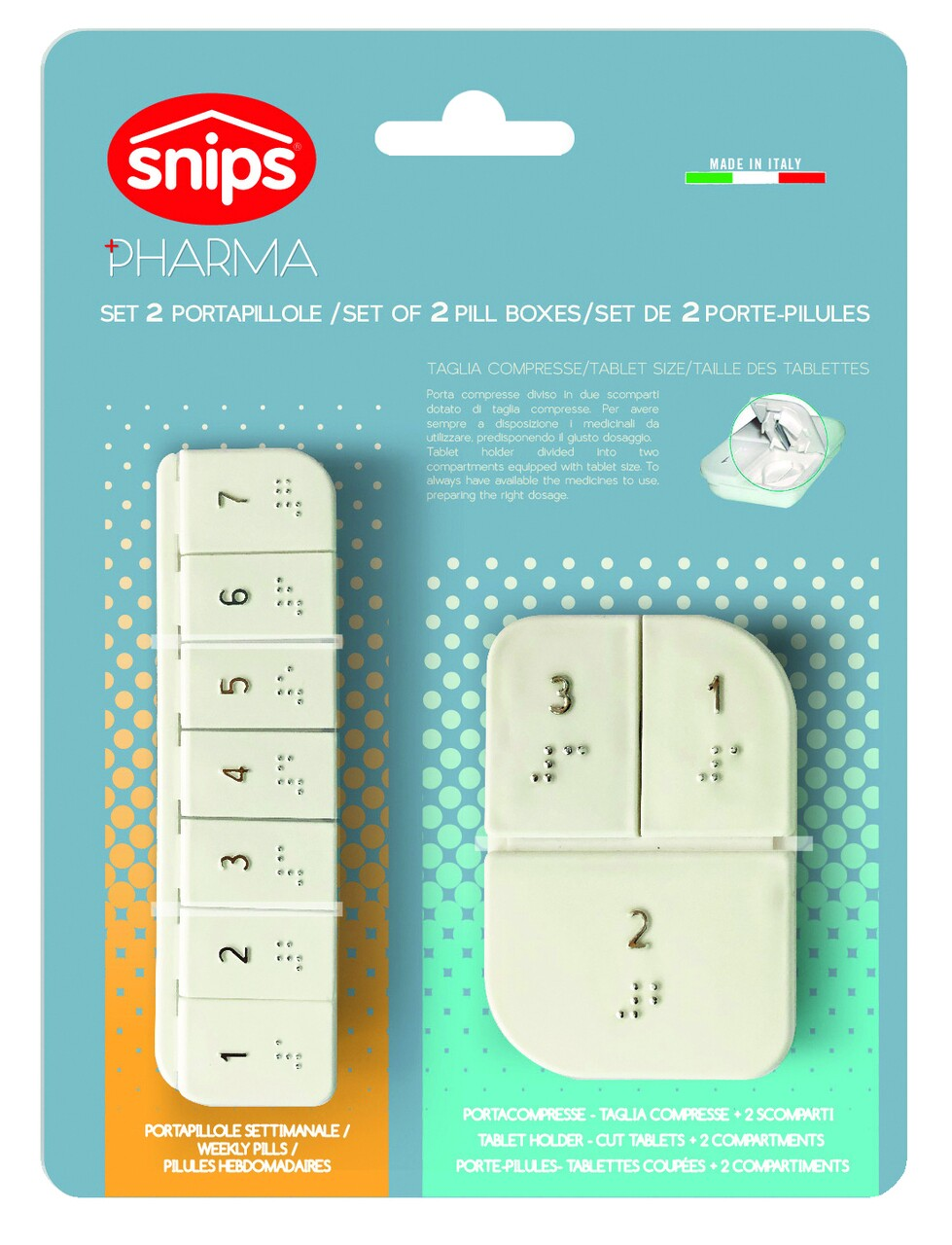 Set 2 cutii compartimentate pentru medicamente, Snips, polipropilena, alb