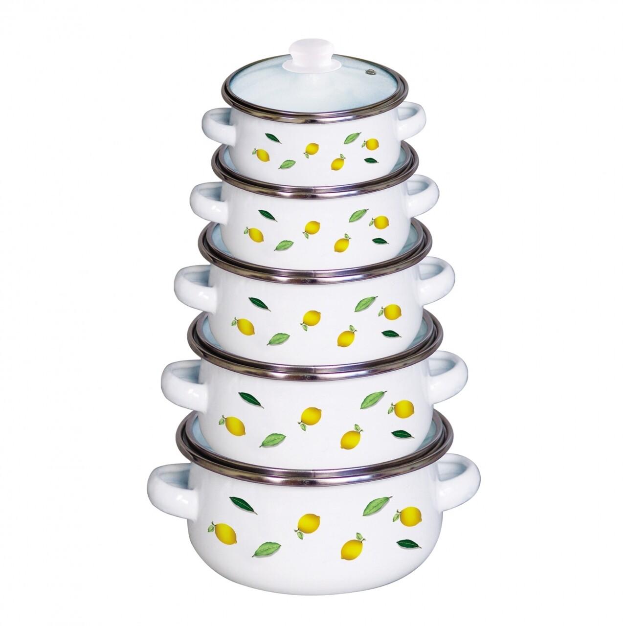 Set de gatit 10 piese, Lime, Vanora Home, 0.5l, 0.8l, 1l, 1.5l, 2l, otel carbon emailat si sticla, multicolor