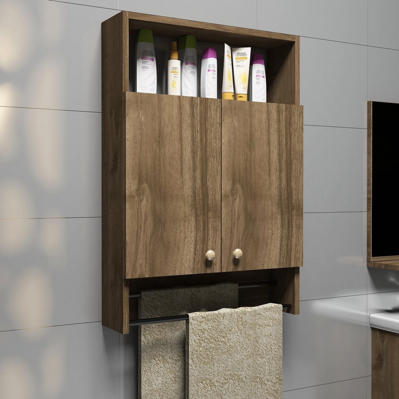 Dulap pentru baie Ela, Puqa Design, 87x15x60 cm, maro