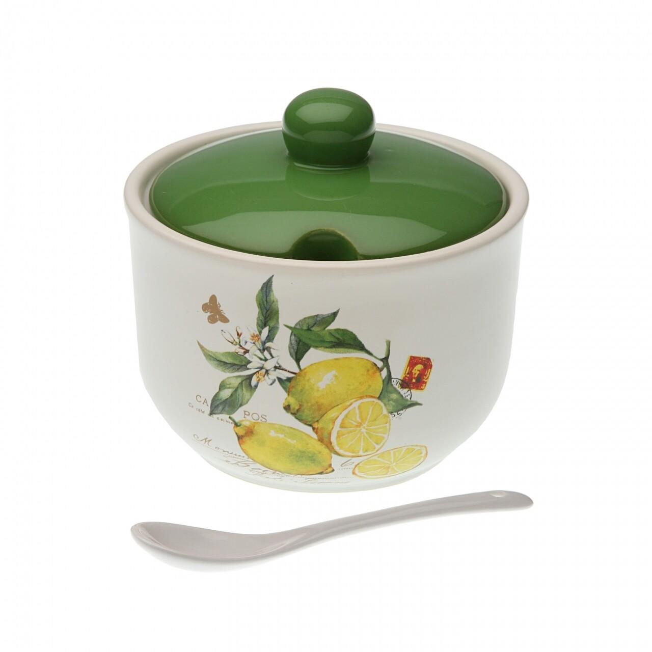 Recipient zahar Lemons, Versa, 10.3 x 11.2 x 11.2 cm, ceramica, alb/verde