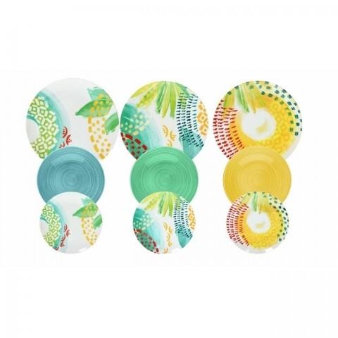 Set serviciu de masa 18 piese, Metropolis Sunny, Tognana, ceramica, multicolor
