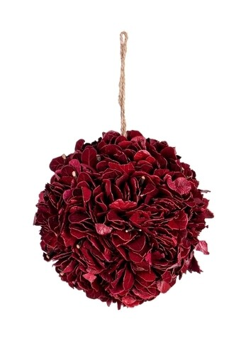 Decoratiune Red Ball, Bizzotto, suspendabila, Ø 16 cm, materiale vegetale/spuma
