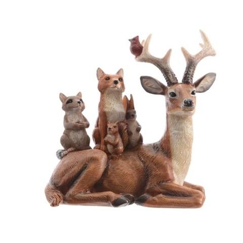 Decoratiune Reindeer w animals on back, Decoris, 9.5x14x15 cm, poliamida, multicolor