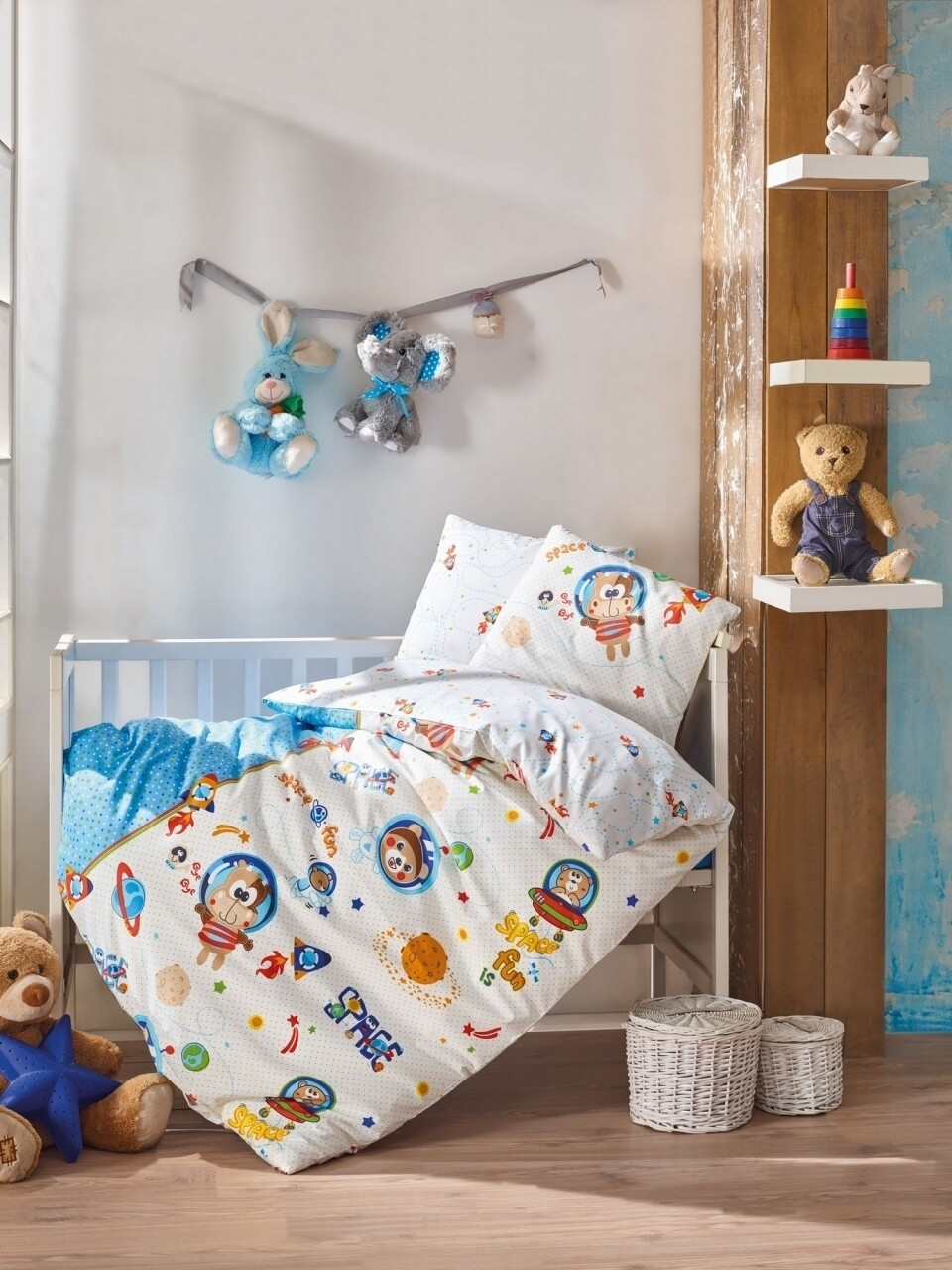 Lenjerie de pat pentru copii Space Fun, Cotton Box, 4 piese, 120 x 150 cm, 100% bumbac ranforce, multicolora