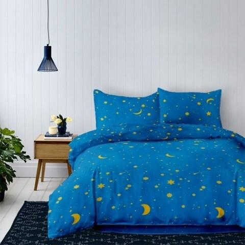 Lenjerie de pat dubla King Size Galaxy, 4 piese, 220 x 250 cm, 100% bumbac, albastru/galben