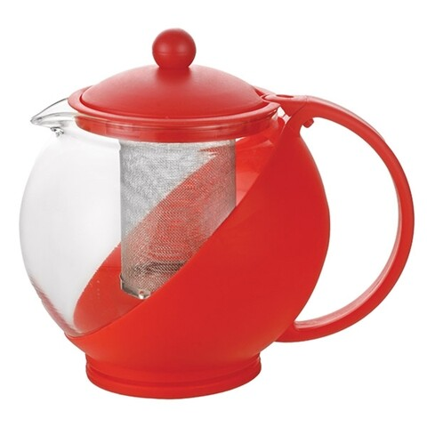 Ceainic cu infuzor Luigi Ferrero, FR-8125JS, sticla temperata/inox, 1.25 L, rosu