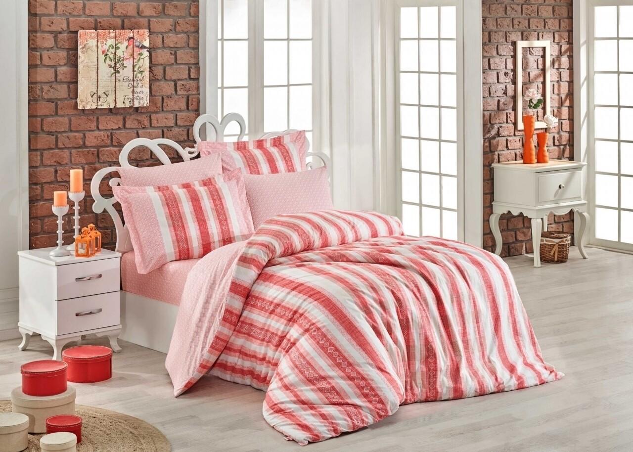 Lenjerie de pat pentru o persoana, 3 piese, 100% bumbac poplin, Hobby, Debora Coral, roz