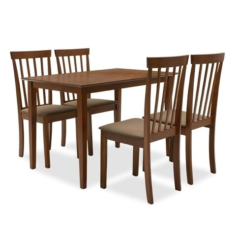 Set dining/bucatarie Nilda Pakoworld, masa cu 4 scaune, 112x72x74 cm, MDF, walnut/maro