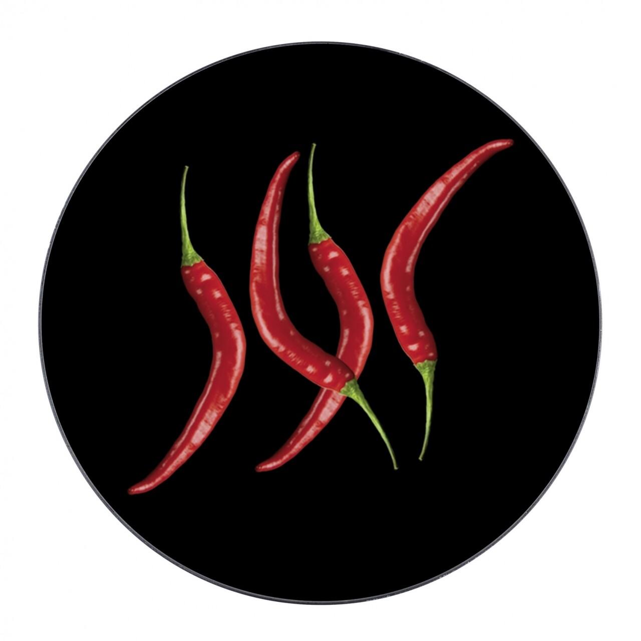 Suport pentru recipiente fierbinti Hot Pepper, Wenko, Ø 20 cm, sticla/silicon, negru/rosu