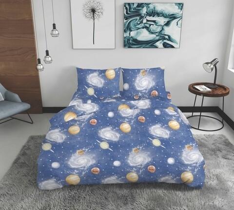 Lenjerie de pat dubla Galaxie, Bedora, 4 piese, 200x220, 100% bumbac, multicolor