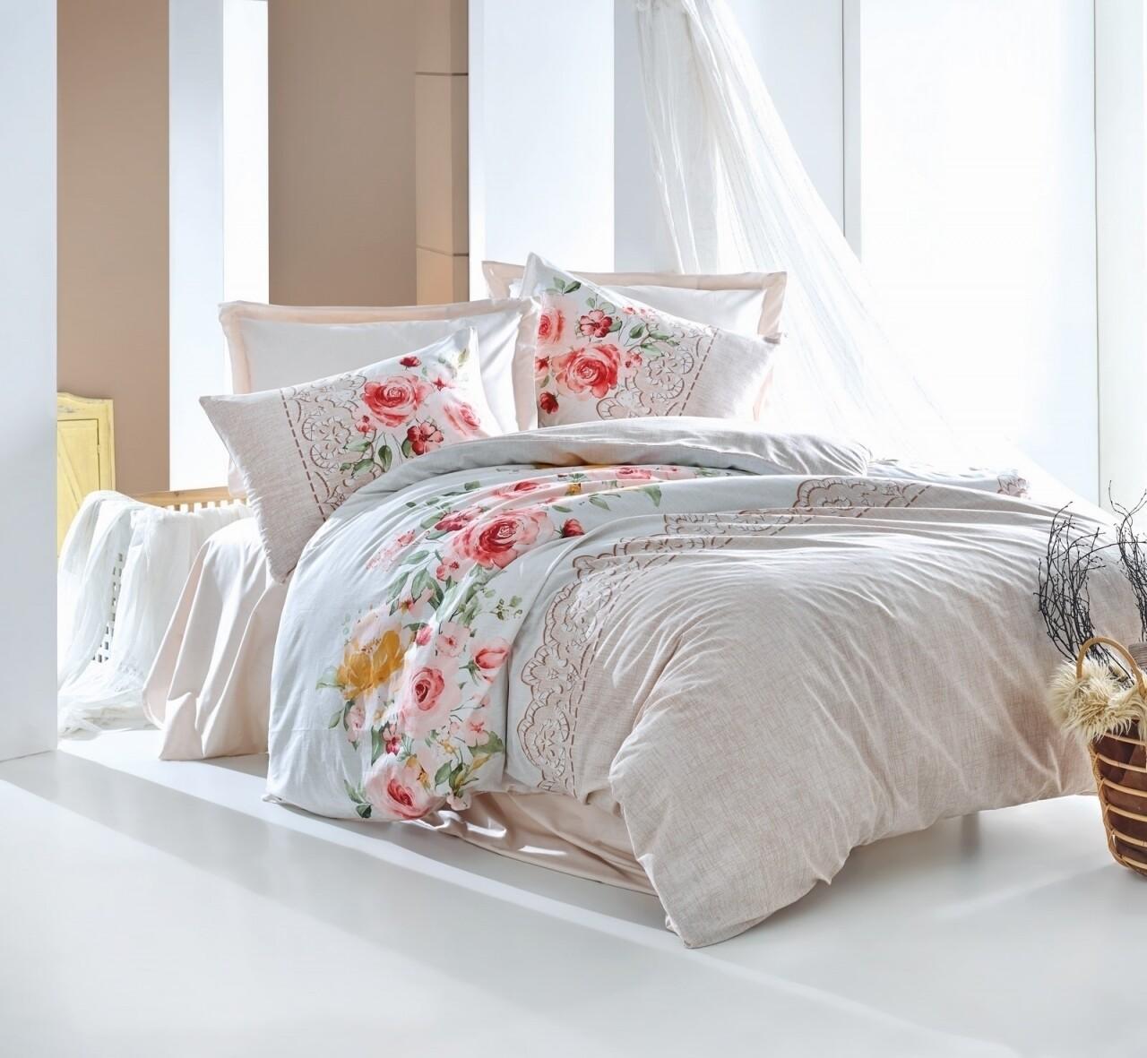 Lenjerie de pat pentru o persoana, 3 piese, 100% bumbac ranforce, Cotton Box, Sandy