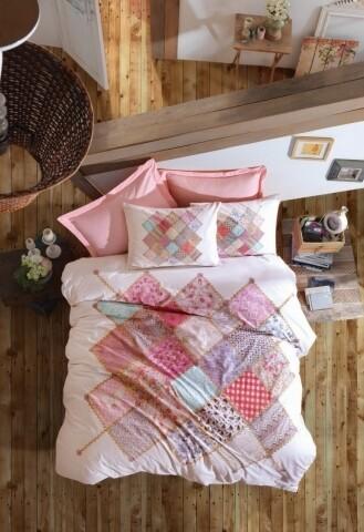 Lenjerie de pat dubla Natali Pink, Cotton Box, 4 piese, 240 x 260 cm, 100% bumbac ranforce, multicolora