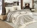 Lenjerie de pat pentru o persoana, 3 piese, 100% bumbac poplin, Hobby, Ludovica, crem