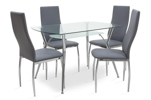 Set dining/bucatarie Jacob Pakoworld, masa cu 4 scaune, 120x75x75.5 cm, inox/sticla temperata/poliuretan, gri
