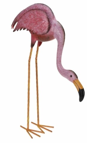 Decoratiune Flamingo curbat, 50x15x55 cm, metal, roz