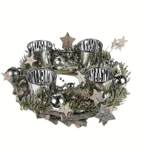 Coronita cu 4 suporturi pentru lumanari Branches, Out of the Blue, 9 x 23 cm, lemn/plastic/sticla, natur/argintiu