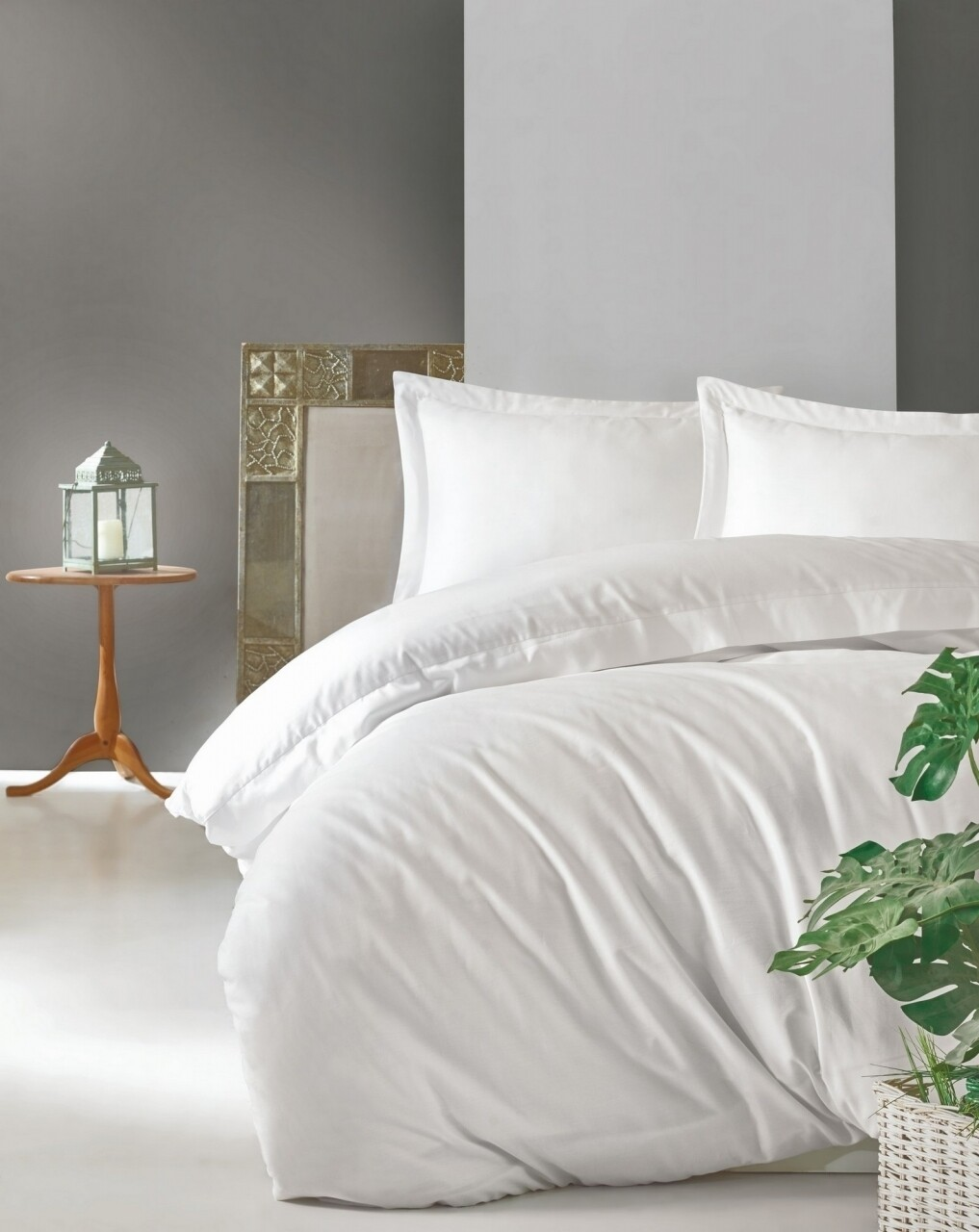 Lenjerie de pat dubla, 4 piese, 100% bumbac satinat, Cotton Box, Premium Elegant, alb