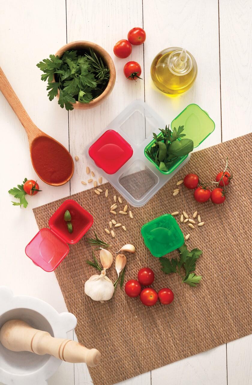 Set 4 caserole cu capac pentru depozitare condimente/sosuri in frigider, 100 ml, polipropilena, multicolor