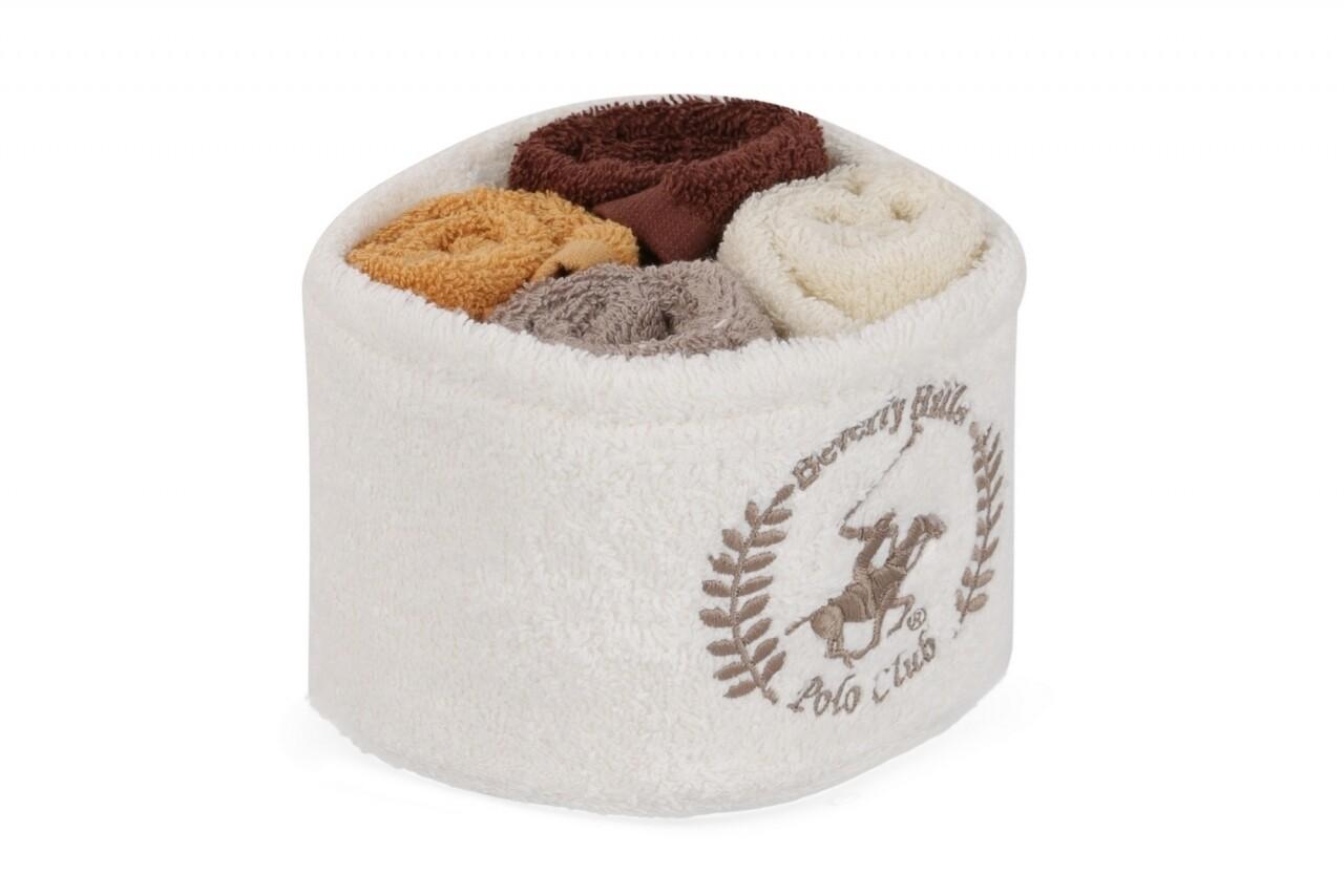 Set 4 prosoape de baie cu cos, Beverly Hills Polo Club, 30x30 cm,  100% bumbac, alb/maro/mustar/maro inchis