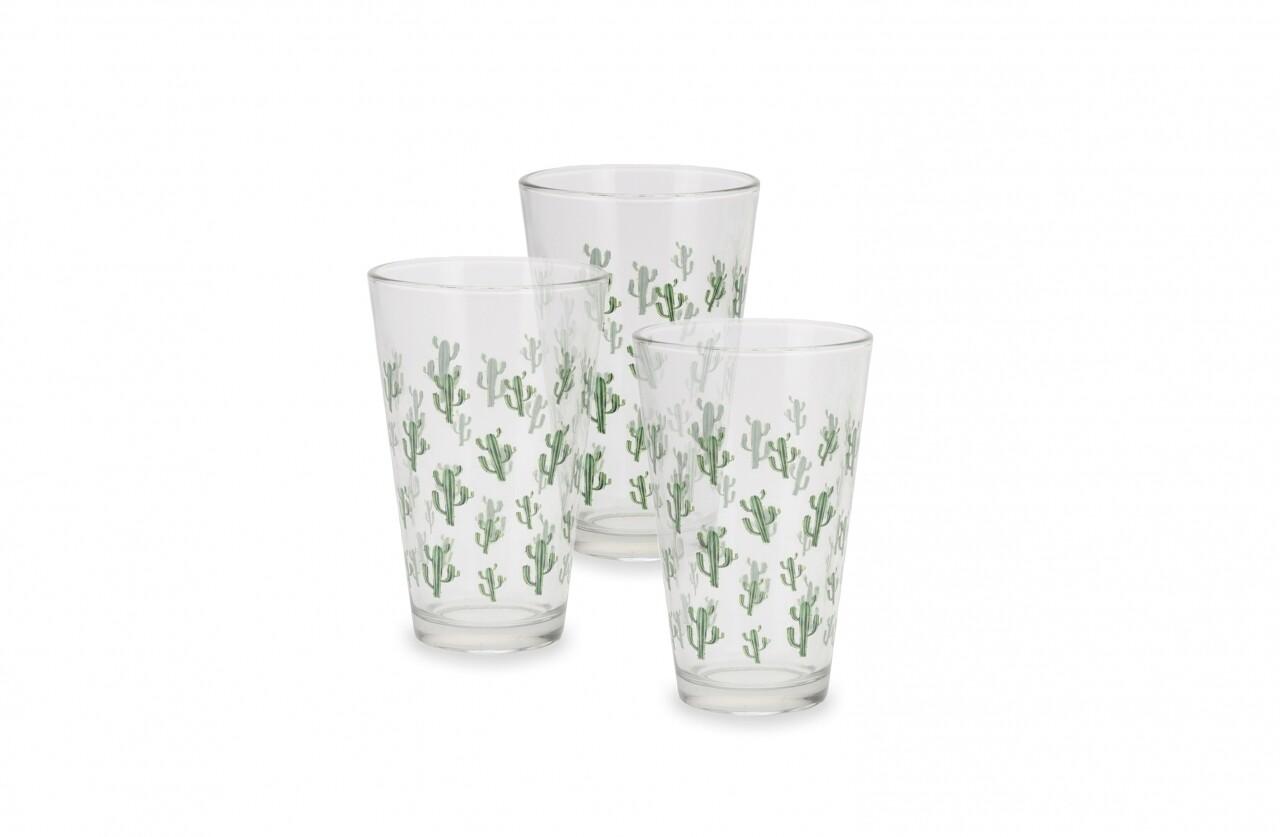 Set 3 pahare Cactus Green, 12.5 cm, sticla, verde