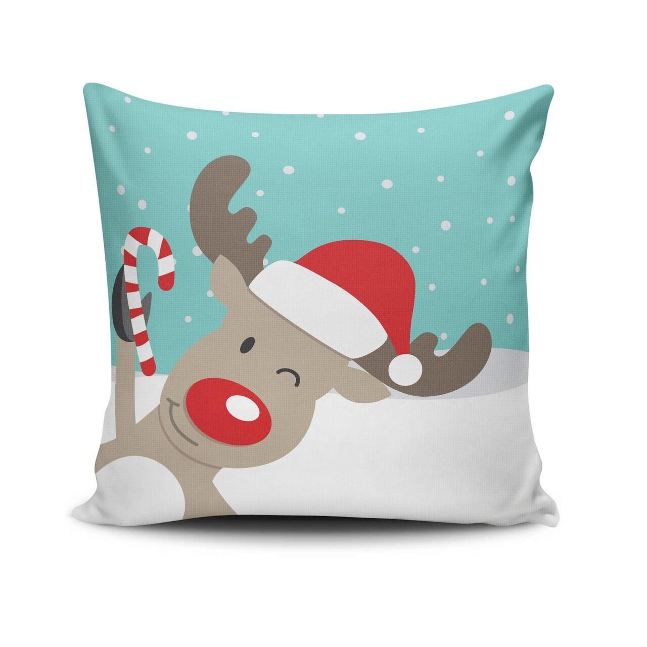 Perna decorativa, Christmas NOELKRLNT-30, 43x43 cm, policoton, multicolor