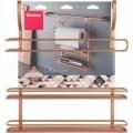 Polita tripla depozitare condimente City Copper, Metaltex, 8 x 38 x 35 cm, inox/invelis Polytherm, cupru