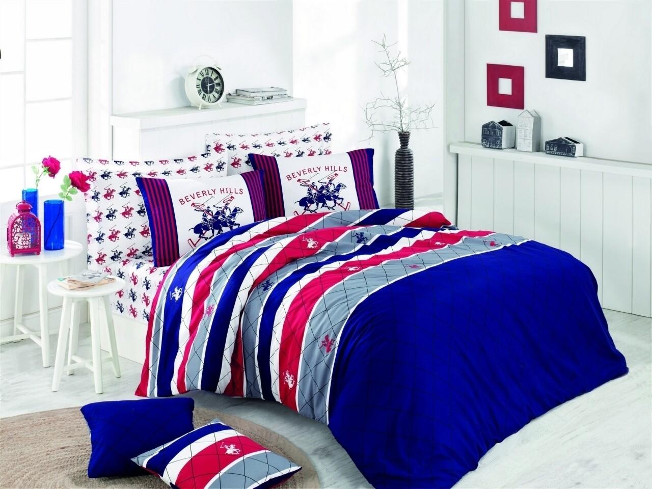 Lenjerie de pat pentru o persoana, Diamonds, Beverly Hills Polo Club, 3 piese, 160 x 240 cm, 100% bumbac ranforce, multicolora