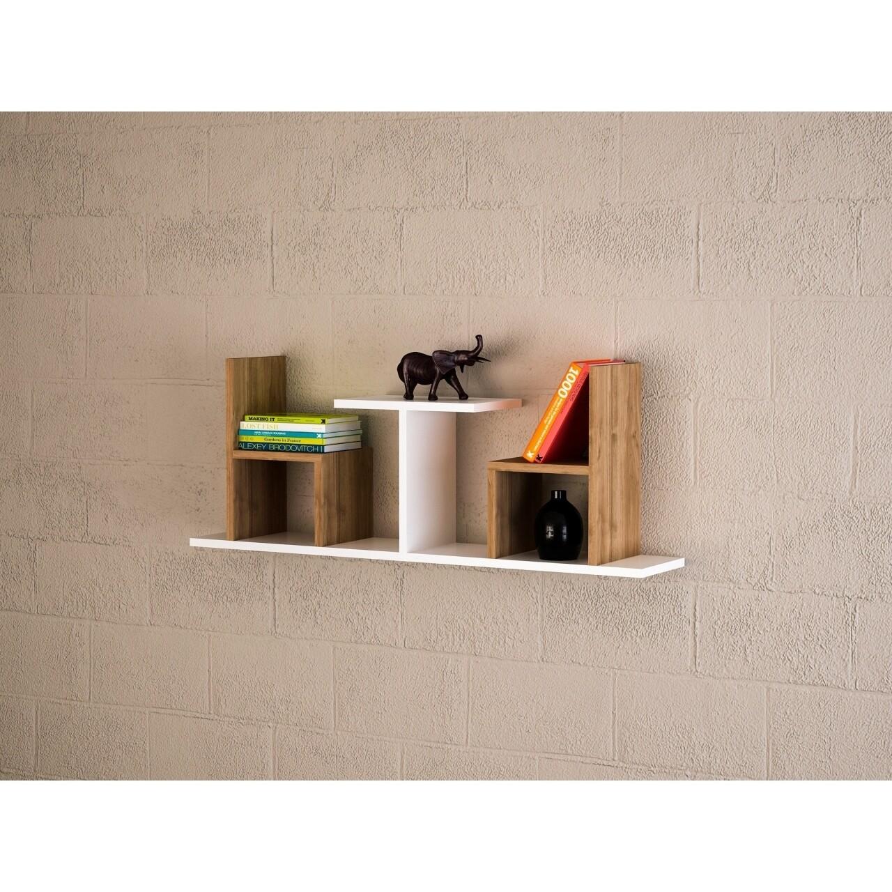 Raft pentru perete, Wooden Art, Sense White Walnut, 110x43x22 cm