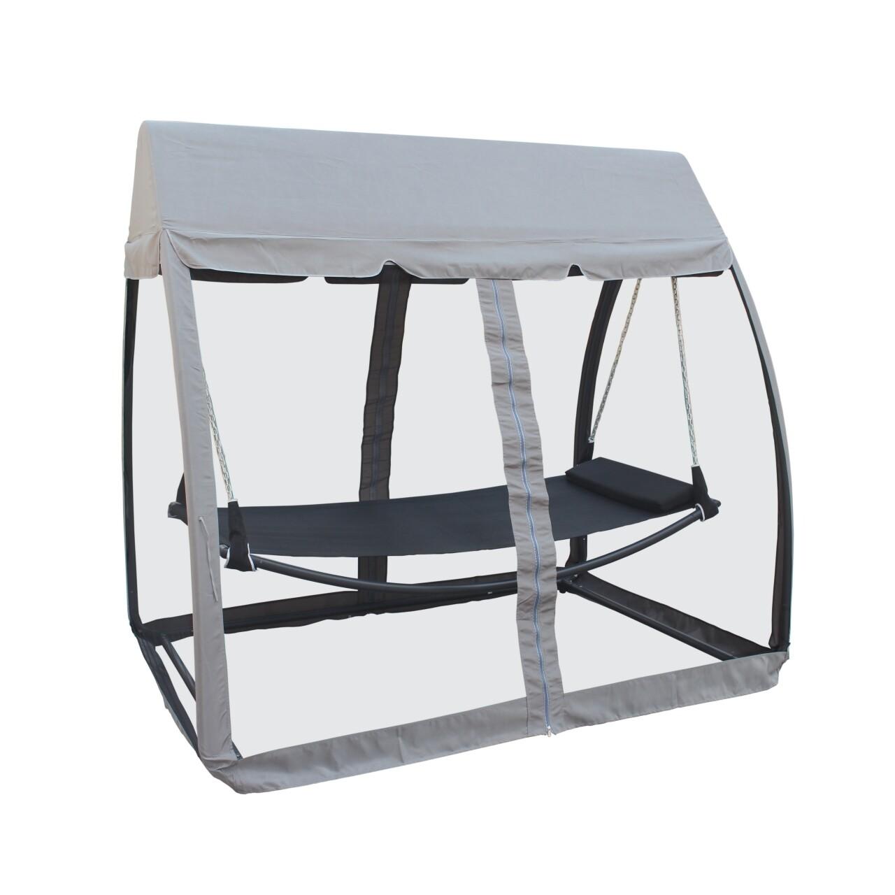 Balansoar cu acoperis, Heinner, 223x151x208cm, gri/negru