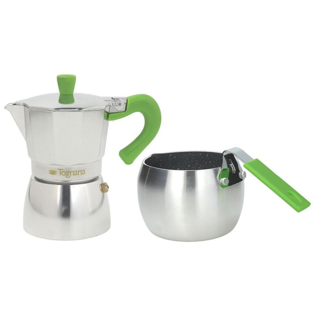 Set cafetiera si fierbator lapte Grancucina, Tognana, aluminiu, argintiu/verde