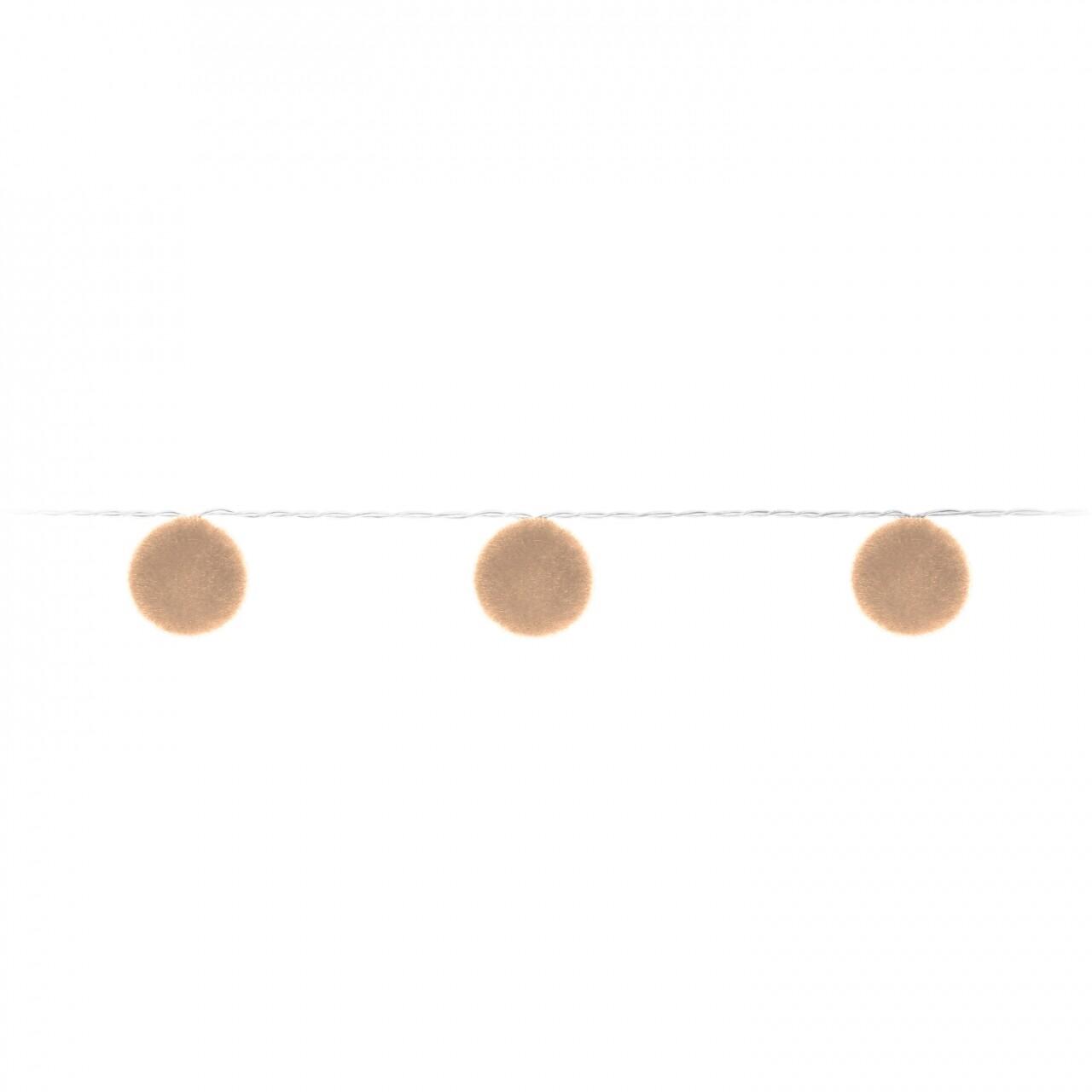 Ghirlanda cu 10 Led-uri Ball Puff, 135 cm, crem